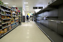 General views of Stirling City centre and shops during the Coronavirus outbreak, 18 March 2020<br /> <br /> Pictured: The shelves were empty of toiled and kitchen rolls in Waitrose, Stirling. The supermarket chain has announced new rules of a maximum of three products per customer during the pandemic<br /> <br /> Alex Todd | Edinburgh Elite media