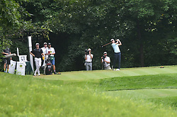 July 15, 2018 - Silvis, Illinois, U.S. - SILVIS, IL - JULY 15:  Michael Kim tees off on the #6 hole during the final round of the John Deere Classic on July 15, 2018, at TPC Deere Run, Silvis, IL.  (Photo by Keith Gillett/Icon Sportswire) (Credit Image: © Keith Gillett/Icon SMI via ZUMA Press)