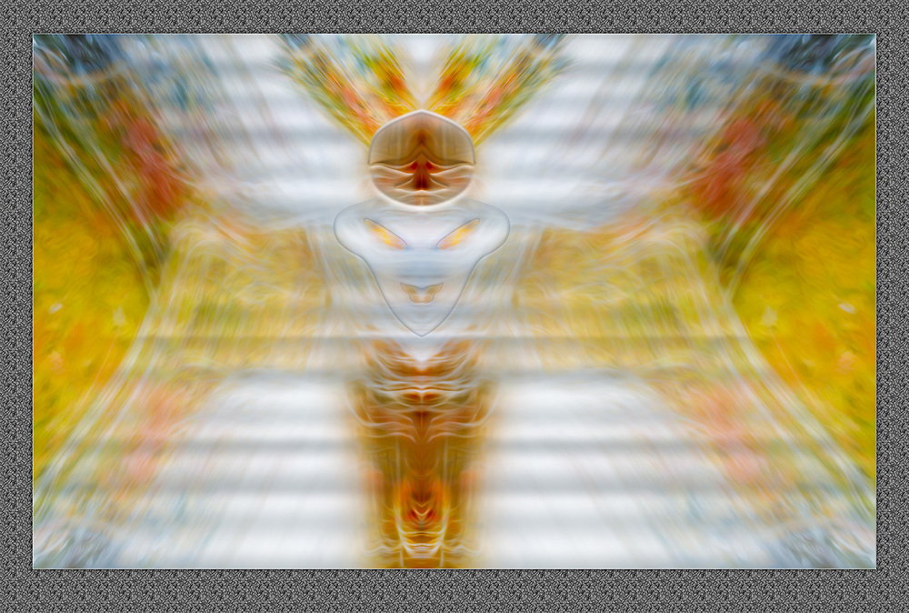 """""""Gisha Goddess of Motion"""", derivative imagecreated from a photo of blurred motion of an autumn forest, overcast light, October, central MI, USA"""