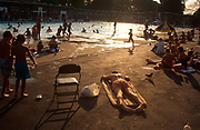 Sunbathers enjoy the poolside during the August heatwave, on 20th August 1995, at Brockwell Lido, Herne Hill, London, England.