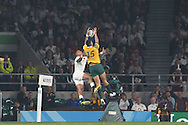 Anthony Watson of England and Israel Folau of Australia jump to catch a high ball. Rugby World Cup 2015 pool A match, England v Australia at Twickenham Stadium in London, England  on Saturday 3rd October 2015.<br /> pic by  John Patrick Fletcher, Andrew Orchard sports photography.