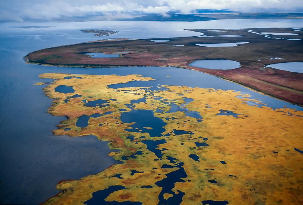 Aerial view, Kobuk Lake, September, Alaska, USA