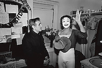 Charles Aznavour with Marcel Marceau on Marceau's birthday, in New York City