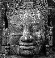 Massive stone face of Bayon temple, <br /> Angkor, Cambodia, 2005, Southeast Asia