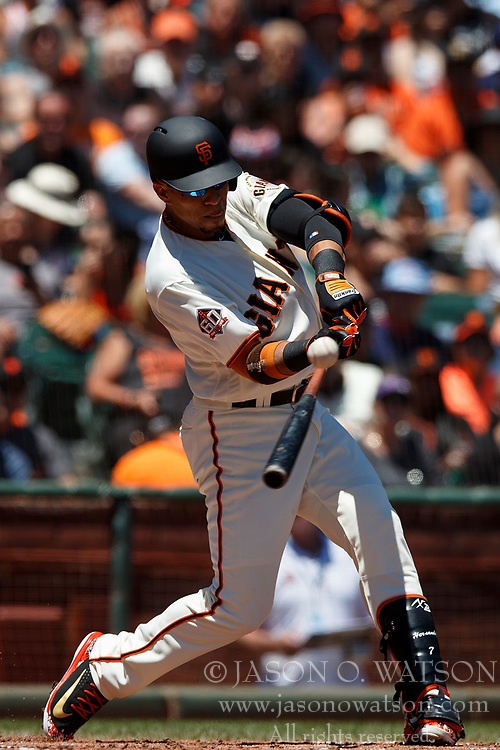 SAN FRANCISCO, CA - JULY 15: Gorkys Hernandez #7 of the San Francisco Giants hits an RBI single against the Oakland Athletics during the second inning at AT&T Park on July 15, 2018 in San Francisco, California.  (Photo by Jason O. Watson/Getty Images) *** Local Caption *** Gorkys Hernandez