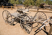 "Borax Smith's 1885 buckboard (four-wheeled wagon) was used on trips from Mojave to Death Valley via Wingate Pass. See historical mining and transportation equipment at the Borax Museum at Furnace Creek Ranch, in Death Valley National Park, California, USA. The oldest house in Death Valley was built in 1883 by F.M. ""Borax"" Smith in Twenty Mule Team Canyon, then moved here by his Pacific Coast Borax Company in 1954 to serve as a museum."