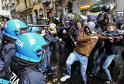 April 29, 2019 - A group of unemployed members of the November 7 list clash with the police where a PD Democratic Party conference will be held with the intervention of President Nicola Zingaretti. 04/29/2019, Naples, Italy (Credit Image: © Salvatore Laporta/IPA via ZUMA Press)