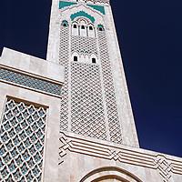 Africa, Morocco, Casablanca. Hassan II Mosque minaret.