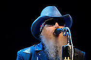 Tribune Photo/SANTIAGO FLORES Dusty Hill of ZZ Top performs at the Morris Performing Arts Center on Wednesday night.  For a review of the performance please visit us at www.SouthBendTribune.com or see Friday's Weekend Section.