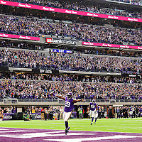 MINNEAPOLIS, MN - NOVEMBER 20: Xavier Rhodes #29 of the Minnesota Vikings celebrates a touchdown after a 100 yard interception return in the second quarter of the game against the Arizona Cardinals on November 20, 2016 at US Bank Stadium in Minneapolis, Minnesota. (Photo by Adam Bettcher/Getty Images)