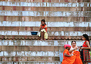 Young girl almost alone - Varanasi Ghats