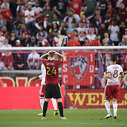 HARRISON, NEW JERSEY- OCTOBER 15: Julian Gressel #24 of Atlanta United reacts after shooting wide of an open goal during the New York Red Bulls Vs Atlanta United FC, MLS regular season match at Red Bull Arena, Harrison, New Jersey on October 15, 2017 in Harrison, New Jersey. (Photo by Tim Clayton/Corbis via Getty Images)