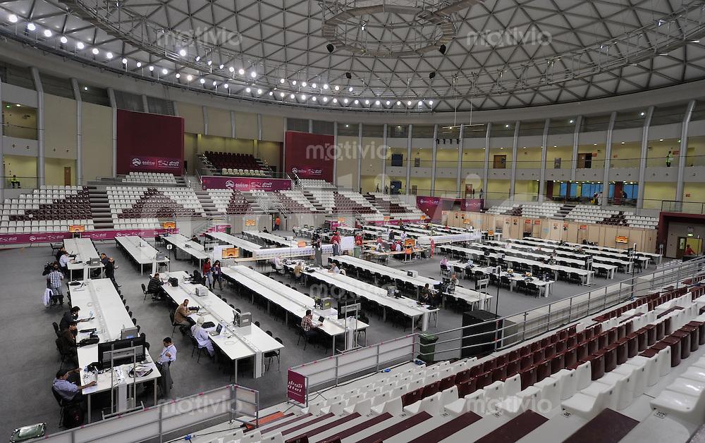 Fussball AFC Asian Cup 2011    14.01.2011 Das Pressezentrum in einer Sporthalle beim Khalifa Stadion.