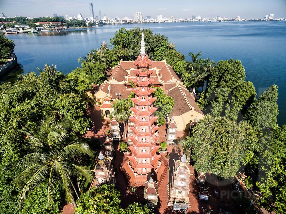 Aerial view of Tran Quoc Pagoda in Hanoi, Vietnam, Southeast Asia