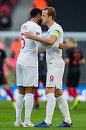 Harry Kane (Capt) (England) hugs Joe Gomez (England)  prior to the UEFA Nations League match between England and Croatia at Wembley Stadium, London, England on 18 November 2018.