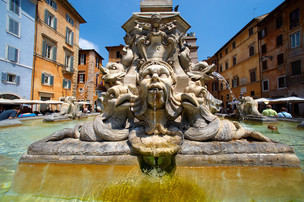 Baroque fountain outside the Pantheon . Piazza Minerva,  Rome .<br /> <br /> Visit our ITALY HISTORIC PLACES PHOTO COLLECTION for more   photos of Italy to download or buy as prints https://funkystock.photoshelter.com/gallery-collection/2b-Pictures-Images-of-Italy-Photos-of-Italian-Historic-Landmark-Sites/C0000qxA2zGFjd_k<br /> .<br /> <br /> Visit our ROMAN ART & HISTORIC SITES PHOTO COLLECTIONS for more photos to download or buy as wall art prints https://funkystock.photoshelter.com/gallery-collection/The-Romans-Art-Artefacts-Antiquities-Historic-Sites-Pictures-Images/C0000r2uLJJo9_s0