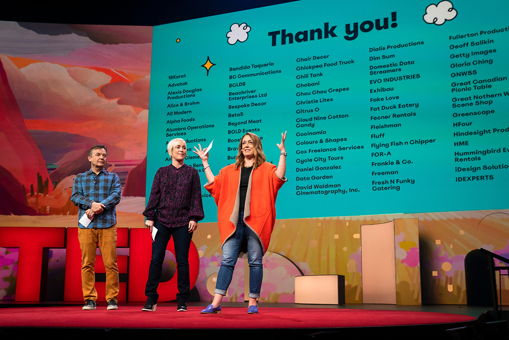 Hosts Chris Anderson, Helen Walters and Kelly Stoetzel speak at TED2019: Bigger Than Us. April 15 - 19, 2019, Vancouver, BC, Canada. Photo: Bret Hartman / TED