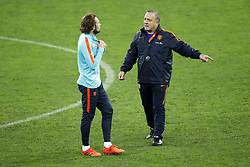 (L-R) Daley Blind of Holland, coach Dick Advocaat of Holland during a training session prior to the friendly match between Romania and The Netherlands on November 13, 2017 at Arena National in Bucharest, Romania