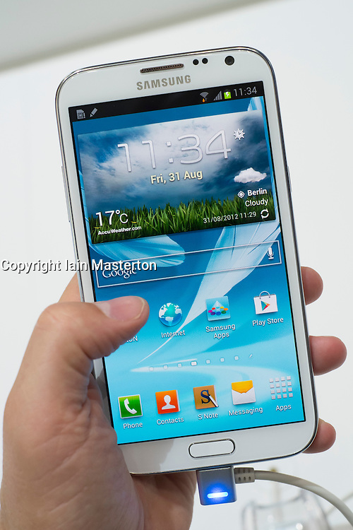 Detail of new Samsung Galaxy Note II smart phone released today , 31 August 2012, the opening day of the annual IFA (or Internationale Funkausstellung ) consumer electronics and electrical products show held in Berlin Messe Trade Show Halls Germany