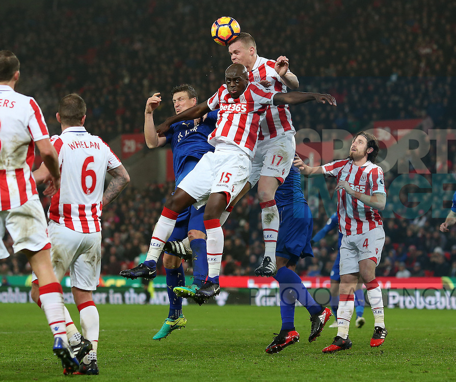 Ryan Shawcross of Stoke City makes a clearance during the English Premier League match at the Bet 365 Stadium, Stoke on Trent. Picture date: December 17th, 2016. Pic Simon Bellis/Sportimage