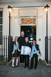 Tara Whelan, Ryan Wiggins and Junior Frood (winners of the Diana Award, front row, left to right) with singer Gavin James posing for photos outside 11 Downing Street to celebrate seventeen years of the Diana Award. This award, set up in memory of Princess Diana, today has the support of both her sons the Duke of Cambridge and Prince Harry. Photo date: Wednesday, October 19, 2016. Photo credit should read: Richard Gray/EMPICS Entertainment