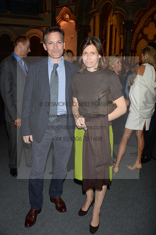 """MR DANIEL & LADY SARAH CHATTO at a private view to view """"The Coronation Theatre: Portrait of Her Majesty Queen Elizabeth II"""" painted by Ralph Heimans held at Westminster Abbey, London on 12th September 2013."""