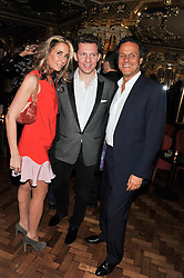 Left to right, TARA BERNERD, NICK CANDY and ARUN NAYAR at the 50th birthday party for Patrick Cox held at the Café Royal Hotel, 68 Regent Street, London on 15th March 2013.