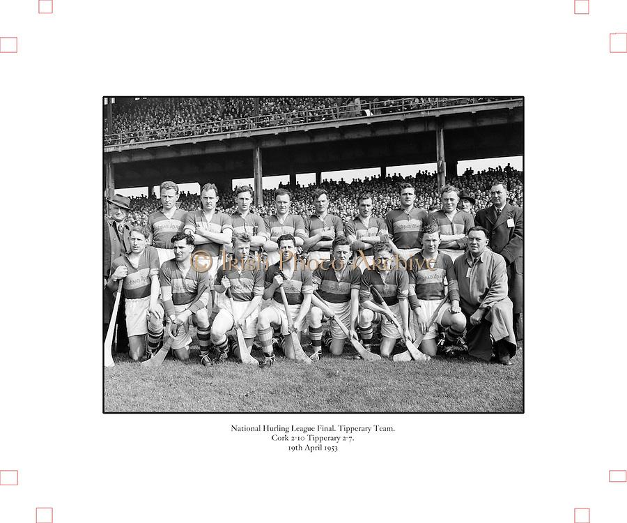 179/2528-2533..19 April 1953.National Hurling League Final.-Senior Hurling Tipperary Team in Croke Park...Cork 2-10  Tipperary 2-7.