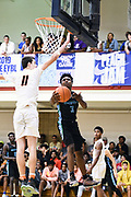 NORTH AUGUSTA, SC. July 10, 2019. Kameron Woods  2020 #3 of Nightrydas Elite 17U lays the ball in at Nike Peach Jam in North Augusta, SC. <br /> NOTE TO USER: Mandatory Copyright Notice: Photo by Alex Woodhouse / Jon Lopez Creative / Nike