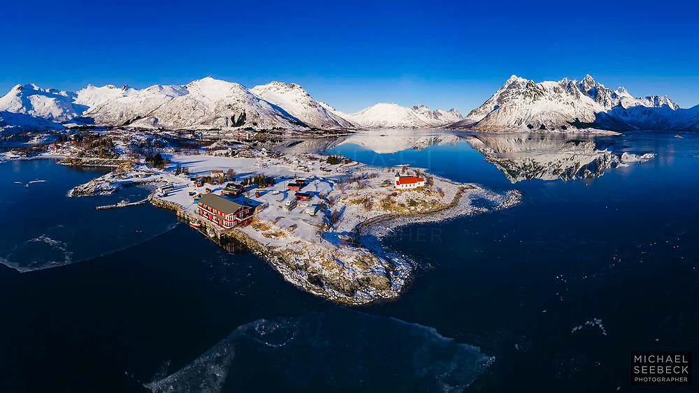 An aerial photograph of a beautiful blue fjord in Lofoten Peninsula, Norway.<br /> <br /> Limited Edition of 125