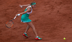 June 6, 2017 - Paris, France - Kristina Mladenovic of France returns the ball to Timea Bacsinszky of Switzerland during the quarterfinals at Roland Garros Grand Slam Tournament - Day 10 on June 6, 2017 in Paris, France. (Credit Image: © Robert Szaniszlo/NurPhoto via ZUMA Press)