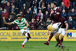 Celtic's Scott Sinclair has his shot blocked by Hearts Michael Smith during the Ladbrokes Scottish Premiership match at Tynecastle Stadium, Edinburgh. PRESS ASSOCIATION Photo. Picture date: Sunday December 17, 2017. See PA story SOCCER Hearts. Photo credit should read: Ian Rutherford/PA Wire. EDITORIAL USE ONLY