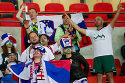 Dissapointed fans of Slovenia sing after the 2010 FIFA World Cup South Africa Group C Third Round match between Slovenia and England on June 23, 2010 at Nelson Mandela Bay Stadium, Port Elizabeth, South Africa.  (Photo by Vid Ponikvar / Sportida)