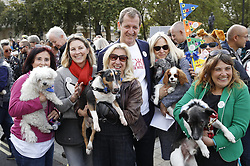 "© Licensed to London News Pictures. 07/10/2018. London, UK. Alastair Campbell joins the Pro-remain dog owners march to Parliament to demand a ""People's Vote"" on the final Brexit agreement. Photo credit: Peter Macdiarmid/LNP"