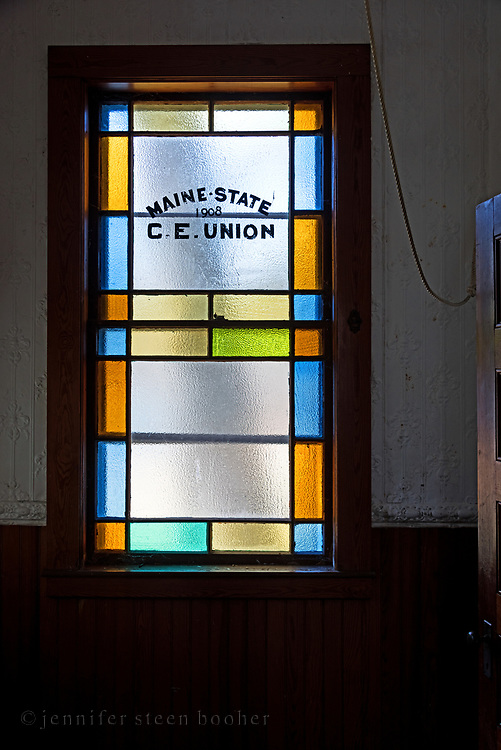 The inscription commemorates the state conference of the Christian Endeavour Union of Maine in Augusta, 1908. Town Hill Federated Church, Town Hill Maine.