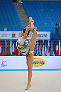 Filiou Varvara during qualifying at ball in Pesaro World Cup 10 April 2015. Varvara, born  on 29 December 1994 in Maurosi,Greece. She is the most famous and awarded Greek athlete of this sport. Varvara is an 8 time Greek National All-around Champion.