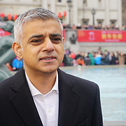 London, UK. 18th Feb 2018. Sadiq Khan the Mayor of London attend Chinese New Year is Celebrated the Year of a Dog with live performing food and drinks.
