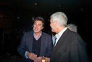 BRYAN FERRY AND LARRY GAGOSIAN, Exhibition of work by Marc Newson at the Gagosian Gallery, Davies st. London. afterwards at Mr. Chow, Knightsbridge. 5 March 2008.  *** Local Caption *** -DO NOT ARCHIVE-© Copyright Photograph by Dafydd Jones. 248 Clapham Rd. London SW9 0PZ. Tel 0207 820 0771. www.dafjones.com.