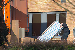 © Licensed to London News Pictures. 08/02/2020. Milton Keynes, UK. A refrigeration unit is moved into a building at the Kents Hill Park Training and Conference Centre. A Milton Keynes conference centre is to house evacuees from the Chinese city of Wuhan, the epicentre of the Novel Coronavirus (2019-nCoV) outbreak, the British citizens are due to be flown back on Sunday 9th February and are expected to land at RAF Brize Norton in Oxfordshire and will remain at the conference centre for 14 days to be monitored. Photo credit: Peter Manning/LNP