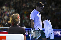 November 14, 2017 - London, England, United Kingdom - Roger Federer of Switzerland walks past his opponent in the singles match against Alexander Zverev of Germany on day three of the Nitto ATP World Tour Finals at O2 Arena, London on November 14, 2017. (Credit Image: © Alberto Pezzali/NurPhoto via ZUMA Press)
