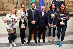 GIULIA LEONARDI FRANCESCA PICCININI GIANCARLO GIORGETTI MAURO FABRIS SERENA ORTOLANI E VALENTINA TIROZZI<br /> PALLAVOLO CELEBRAZIONE COPPE EUROPEE VOLLEY 2018-2019 VINTE DALLE SQUADRE ITALIANE A PALAZZO CHIGI A ROMA<br /> ROMA 22-05-2019<br /> FOTO FILIPPO RUBIN