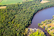 Aerial photograph of Headgates Park  and Decatur Lake between Albany and Brodhead, Wisconsin.