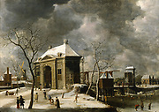 Presumed view of an Amsterdam gate in winter. Artist, Jan Beerstraten (1622-1666). Oil on wood. Private collection