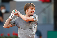 Alexander Bublik of Kazakhstan in action during his Men's Singles match, Quarter of Finals, against Casper Ruud of Norway on the Mutua Madrid Open 2021, Masters 1000 tennis tournament on May 7, 2021 at La Caja Magica in Madrid, Spain - Photo Oscar J Barroso / Spain ProSportsImages / DPPI / ProSportsImages / DPPI