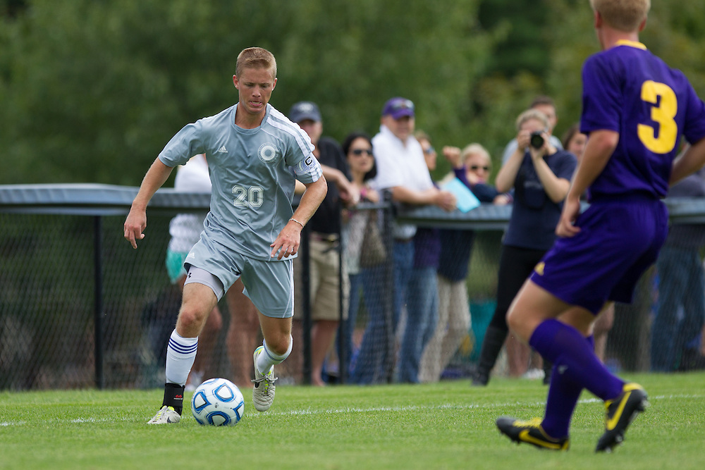 Grey Benjamin, of Colby College, in an NCAA Division III college soccer game against Williams College at Colby College, Saturday Sept. 7, 2012 in Waterville, ME. (Dustin Satloff/Colby College Athletics)