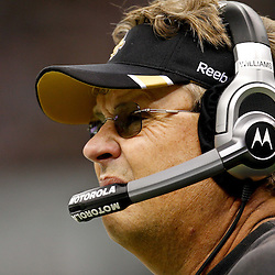 November 6, 2011; New Orleans, LA, USA; New Orleans Saints defensive coordinator Gregg Williams on the sideline during the third quarter of a game against the Tampa Bay Buccaneers at the Mercedes-Benz Superdome. The Saints defeated the Buccaneers 27-16. Mandatory Credit: Derick E. Hingle-US PRESSWIRE