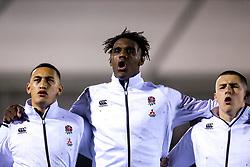 Manu Vunipola, Joel Kpoku of England U20 and Ollie Sleightholme of England U20 - Mandatory by-line: Robbie Stephenson/JMP - 08/03/2019 - RUGBY - Goldington Road - Bedford, England - England U20 v Italy U20 - Six Nations U20