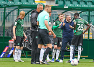Plymouth Argyle Manager Ryan Lowe gestures, shouts, pointing and gives instructions to Plymouth Argyle Forward Panutche Camará (28) and Plymouth Argyle Midfielder Danny Mayor (10) during the EFL Sky Bet League 1 match between Plymouth Argyle and Sunderland at Home Park, Plymouth, England on 1 May 2021.