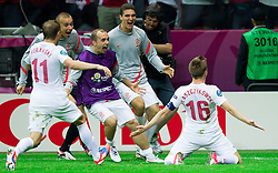 12-06-2012 VOETBAL: UEFA EURO 2012 DAY 5: POLEN OEKRAINE<br /> Jakub Blaszczykowski of Poland celebrates when he scored during the UEFA EURO 2012 group A match between Poland and Russia at The National Stadium<br /> ***NETHERLANDS ONLY***<br /> ©2012-FotoHoogendoorn.nl