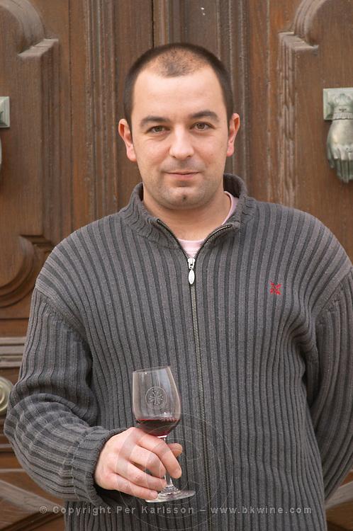 Laurent Reverdy, son of Patrick Reverdy Chateau la Voulte Gasparets. In Gasparets village near Boutenac. Les Corbieres. Languedoc. Owner winemaker. France. Europe.